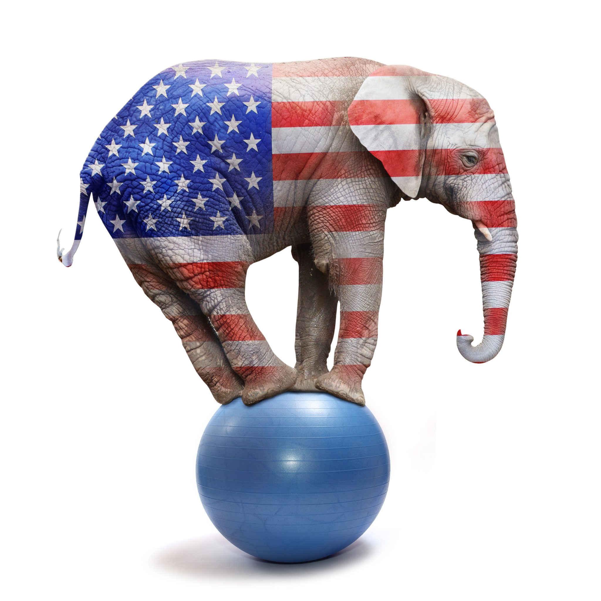 Republican elephant colored as a american flag balancing on blue ball. Big elephant going to elections. Digital artwork on political theme.